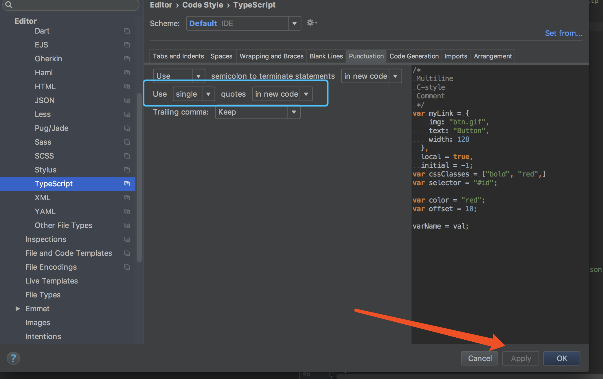webstorm setting